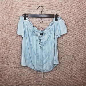 KENDALL & KYLIE BLUE AND WHITE RUFFLE SHIRT